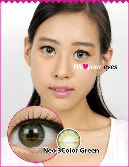 Neo 3 Color Green Contacts at e-circlelens.com