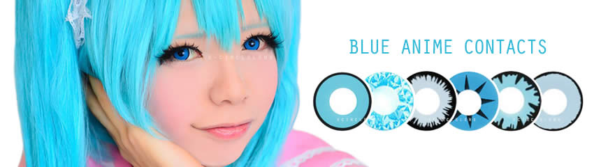 anime cosplay blue big eye contact lenses